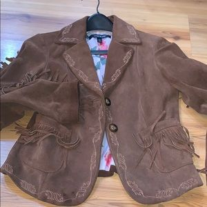 Brown Western Style Soft Leather jacket
